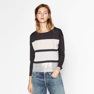 NEW Zara Texture Stripes Sequins Blouse Top